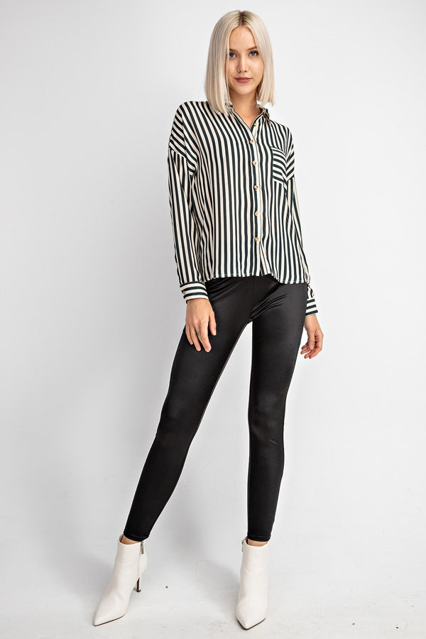 Striped Button Down Pocket Blouse With Drop Shoulders Siin Bees