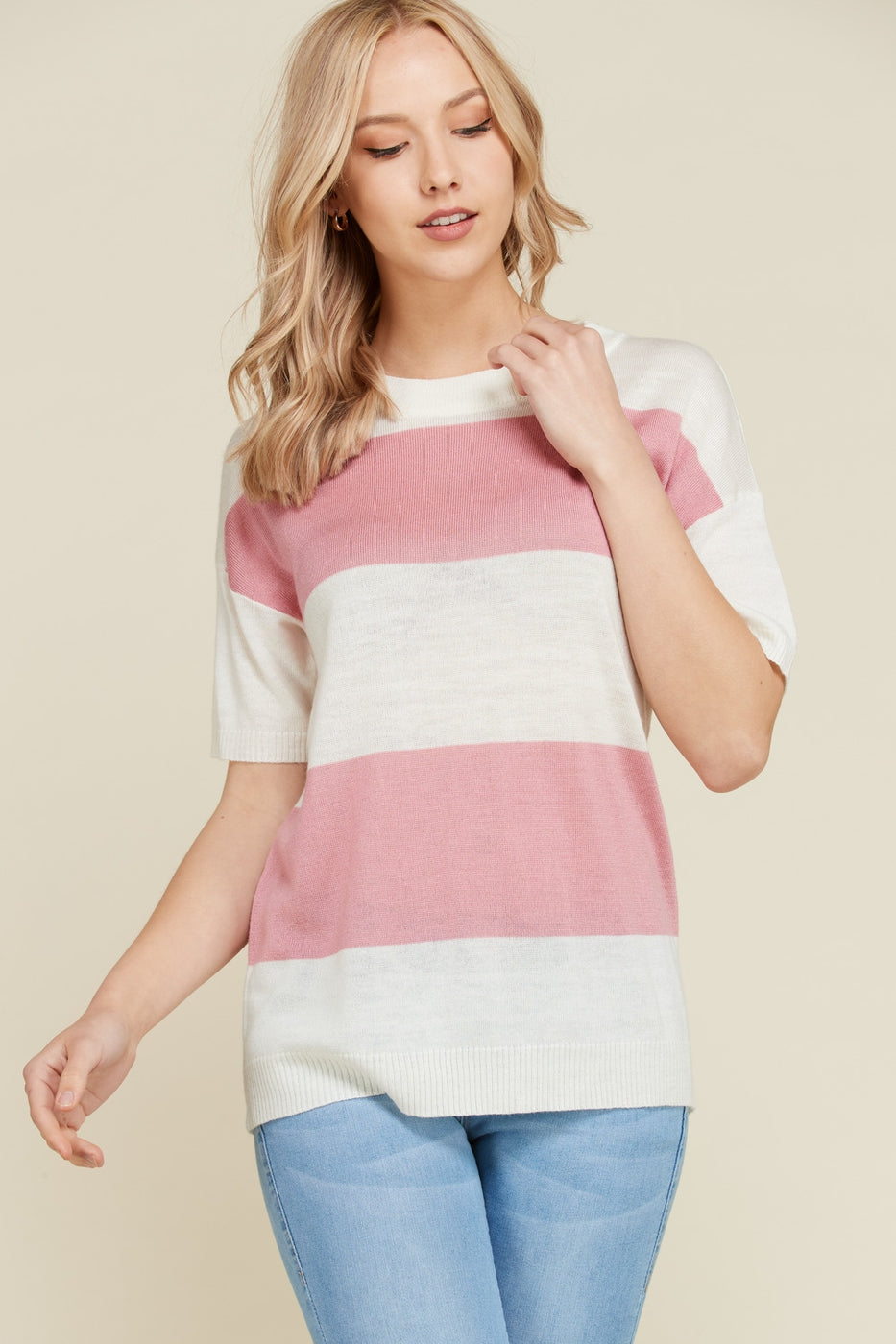 Fun Striped Short Sleeve Sweater Color Block In Pink Siin Bees