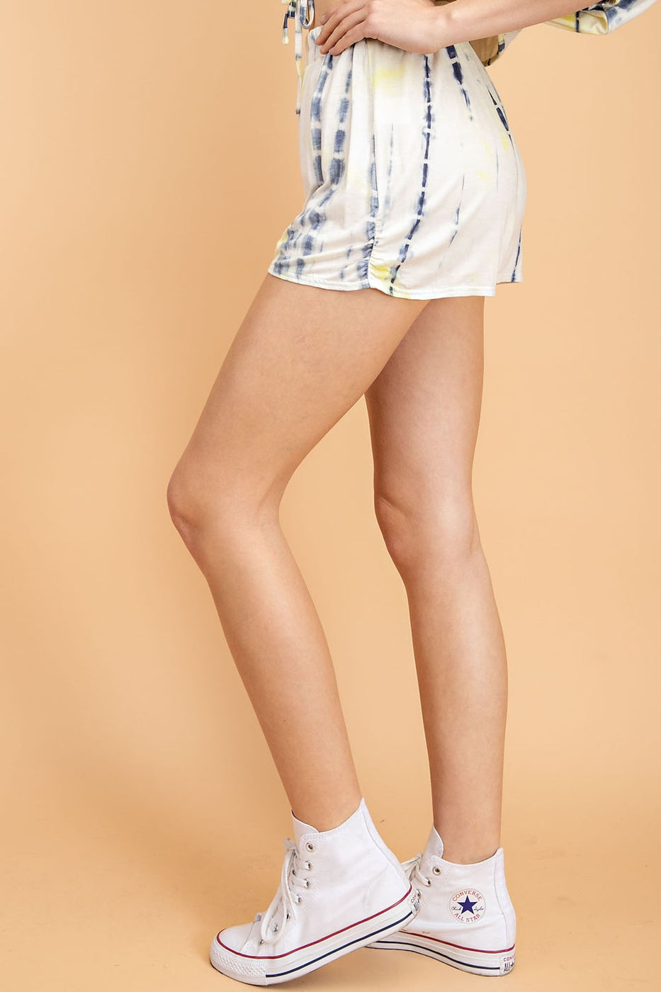 Blue-Yellow Shorts With Tie Dye Front Ruched - Siin Bees