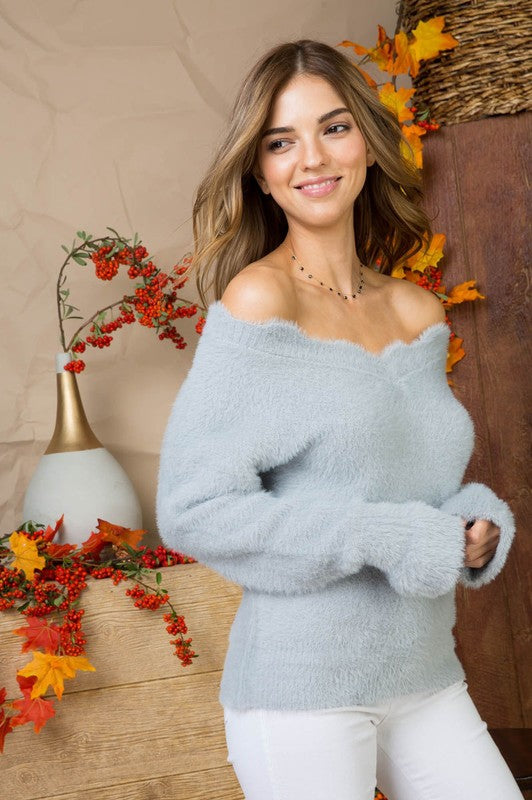 Grey Scallop Neck Bell Sleeve Fur Sweater Siin Bees