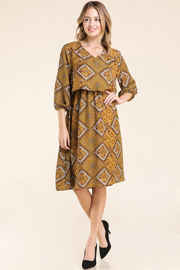 Janelle Midi Dress With Abstract Print In Mustard Siin Bees