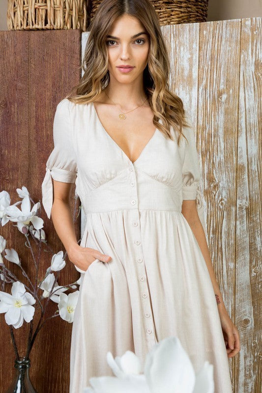 Nevaeh V Neck Front Button Down Short Sleeve Bow Tie Full Lined Dress Siin Bees