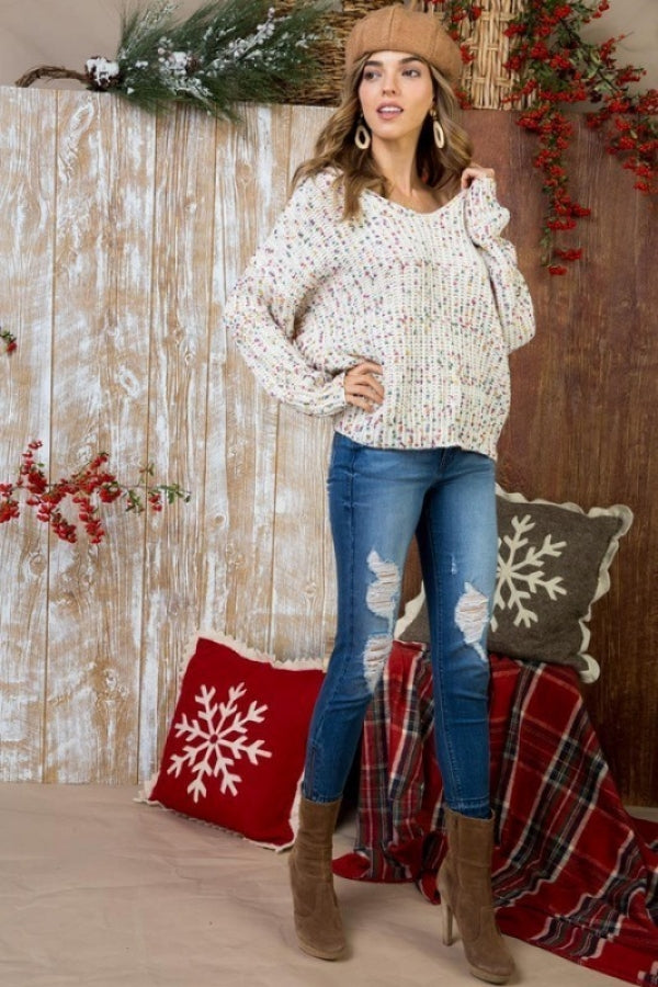 Ivory Multi Polka Dot Twist Front or Back Sweater Siin Bees