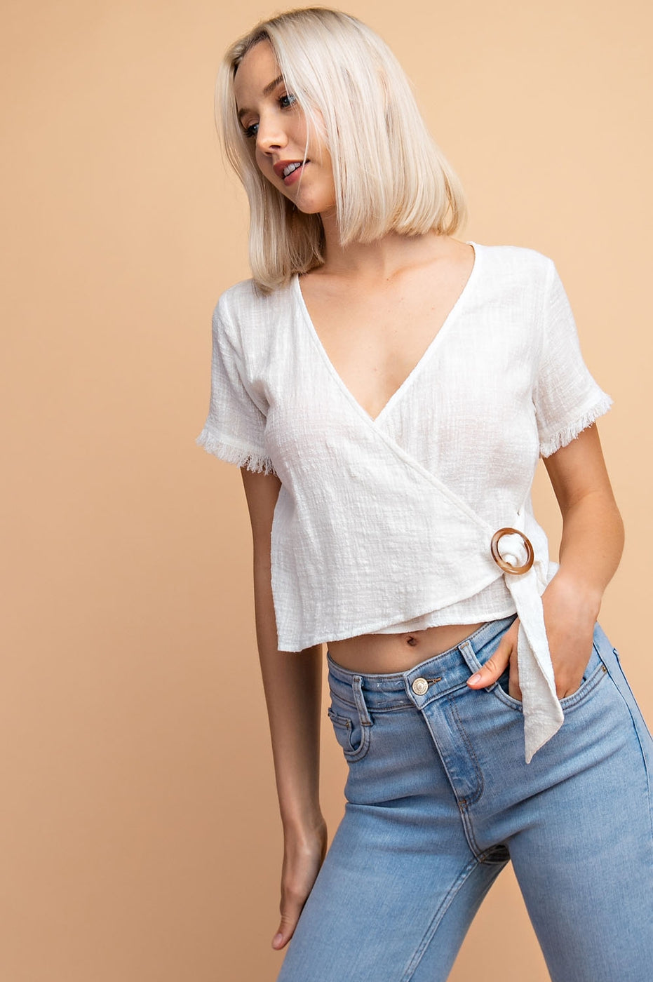 Half Sleeve Solid Surplus Top With Wood Buckle Siin Bees