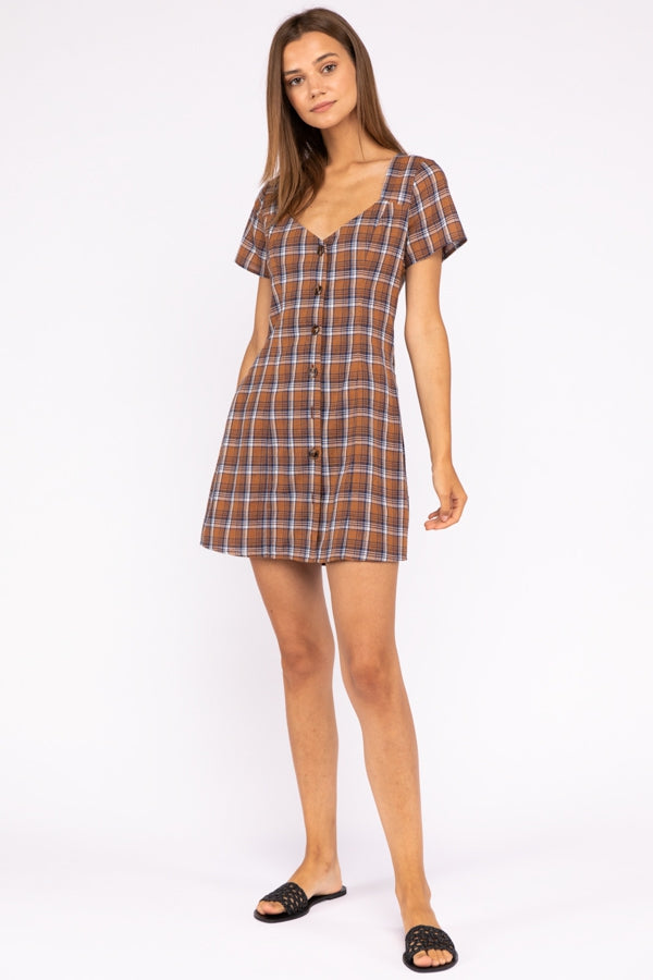Plaid Button Down A Line Dress With Back Cutout In Brown Check Siin Bees