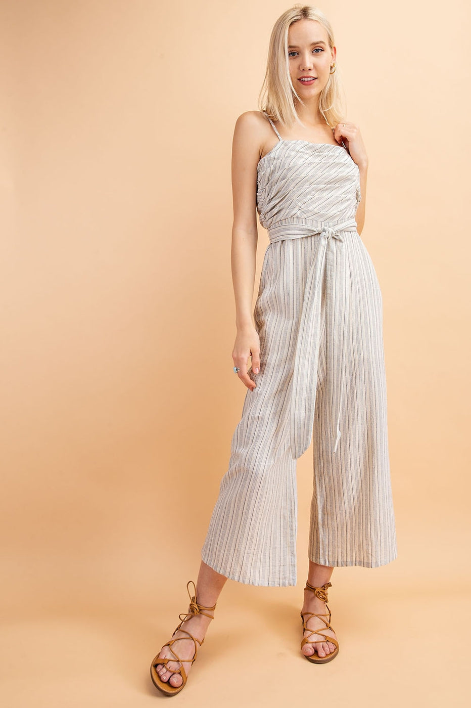 Ariana Striped Jumpsuit With Spaghetti Strap Belted Siin Bees