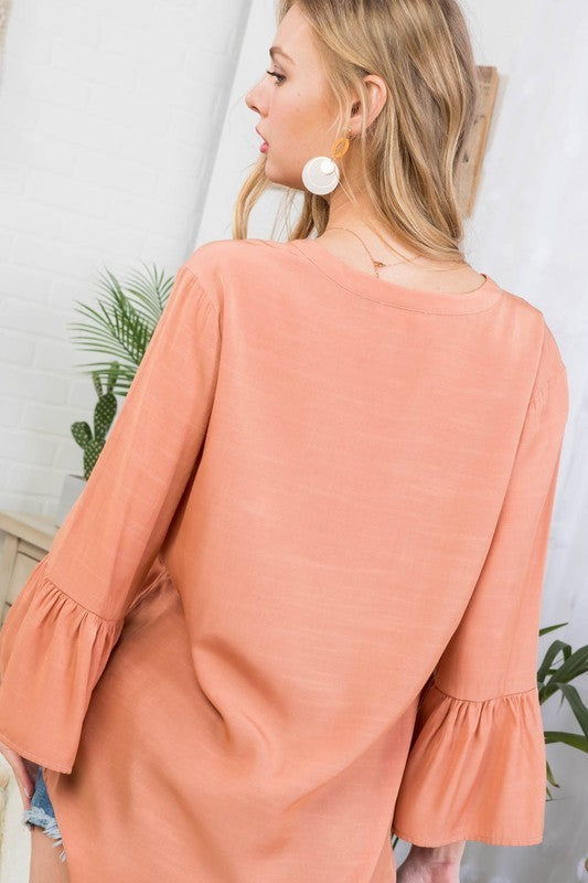 Muted Clay 3/4 Ruffle Sleeve Henry Neck Line Solid Top Siin Bees