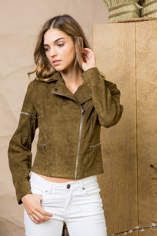Asymmetrical Zipper Detail Collar Neck Long Sleeve Crop Suede Jacket Siin Bees