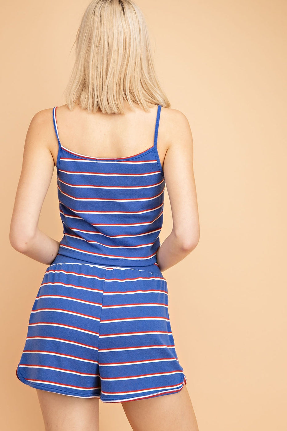 Striped Tank Top With Button Front Detail - Siin Bees