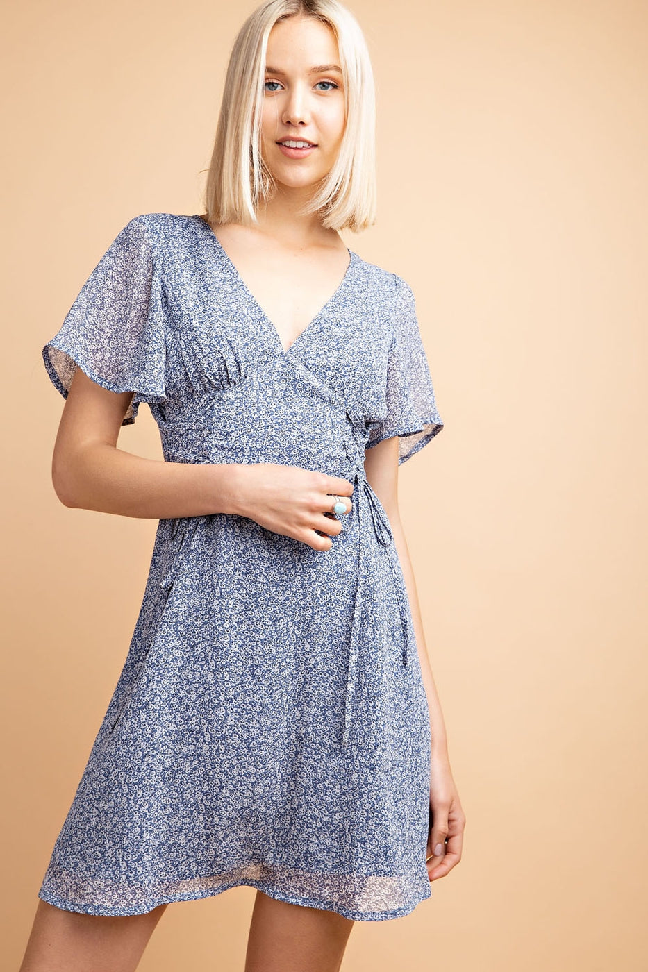 Bella Flowy V-Neck Lace Up Detail Ruffle Sleeve Dress In Blue Siin Bees