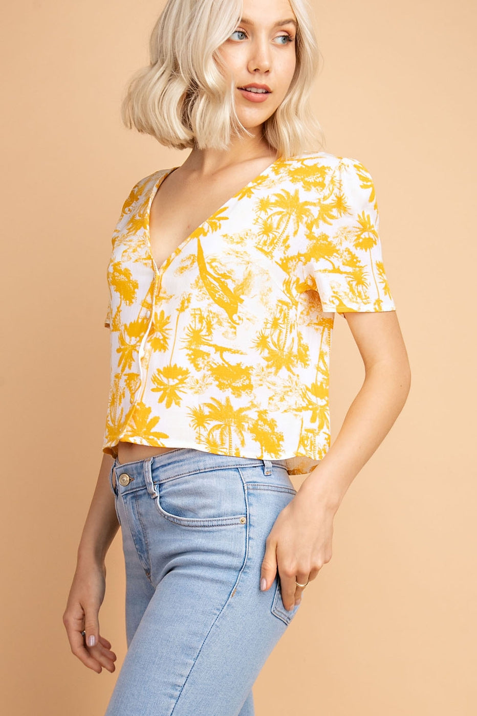 Yellow Print Top With Button Front Siin Bees