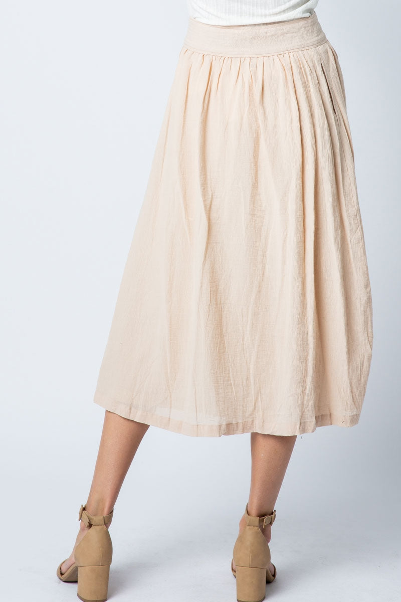 Romantic natural Woven Midi Skirt With Side Placket Siin Bees