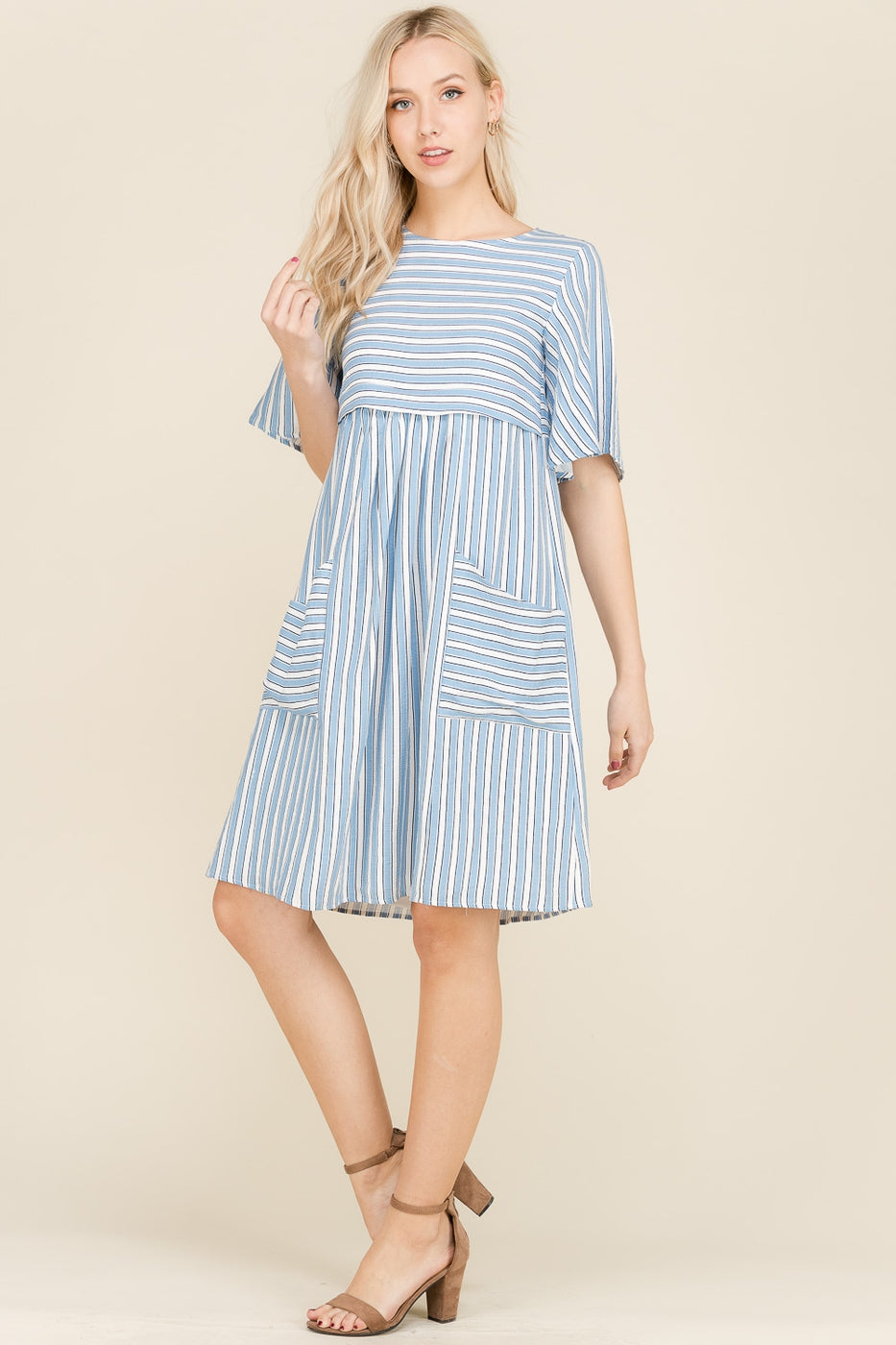 Mila Stripe Mini Dress Nursing Friendly Bust Open Pocket Siin Bees