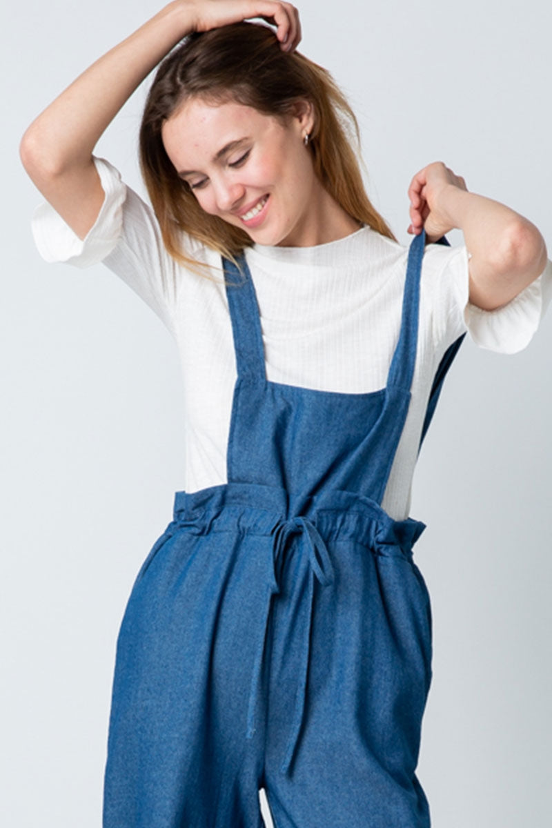 Natalie Blue Overalls Adjustable Waist With Pockets Siin Bees