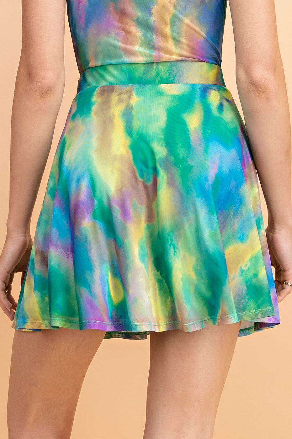 Green-Multi Skirt With Tie Dye High Waisted Skater Siin Bees