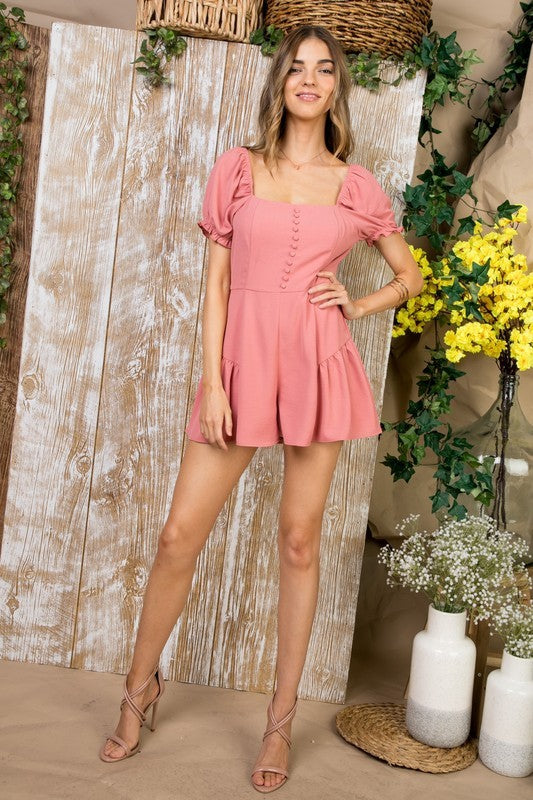Amelia Romper W Ith Square Neck Line Front Button Down Hidden Back Zipper Siin Bees