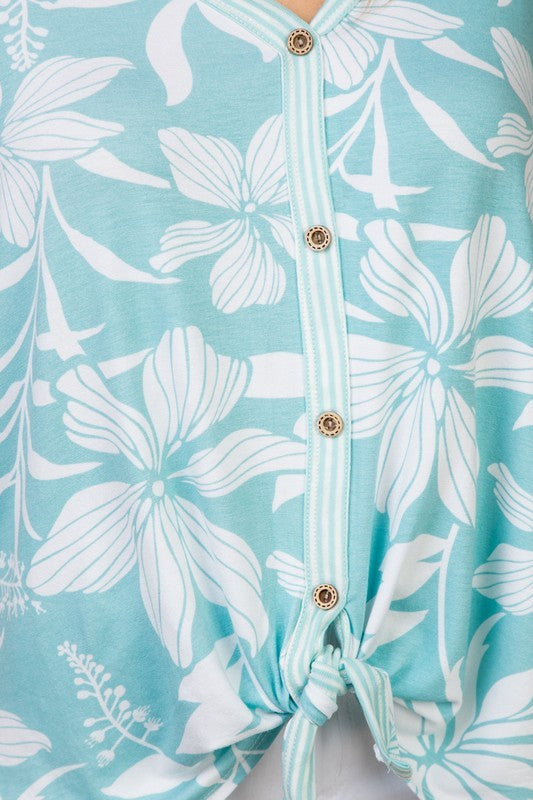 Mint Flowers Tie at The Bottom and Stripe Mixed Top Siin Bees