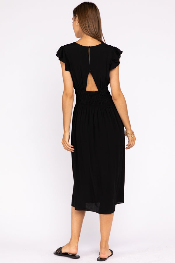Flutter Sleeve Midi Dress With Back Keyholes In Black Siin Bees