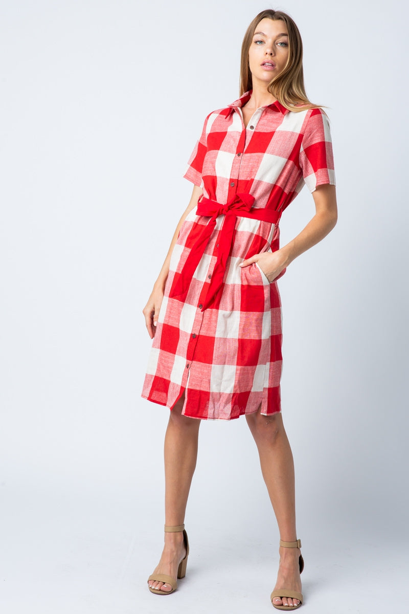 Molly Down Dress With Plaid Button Siin Bees