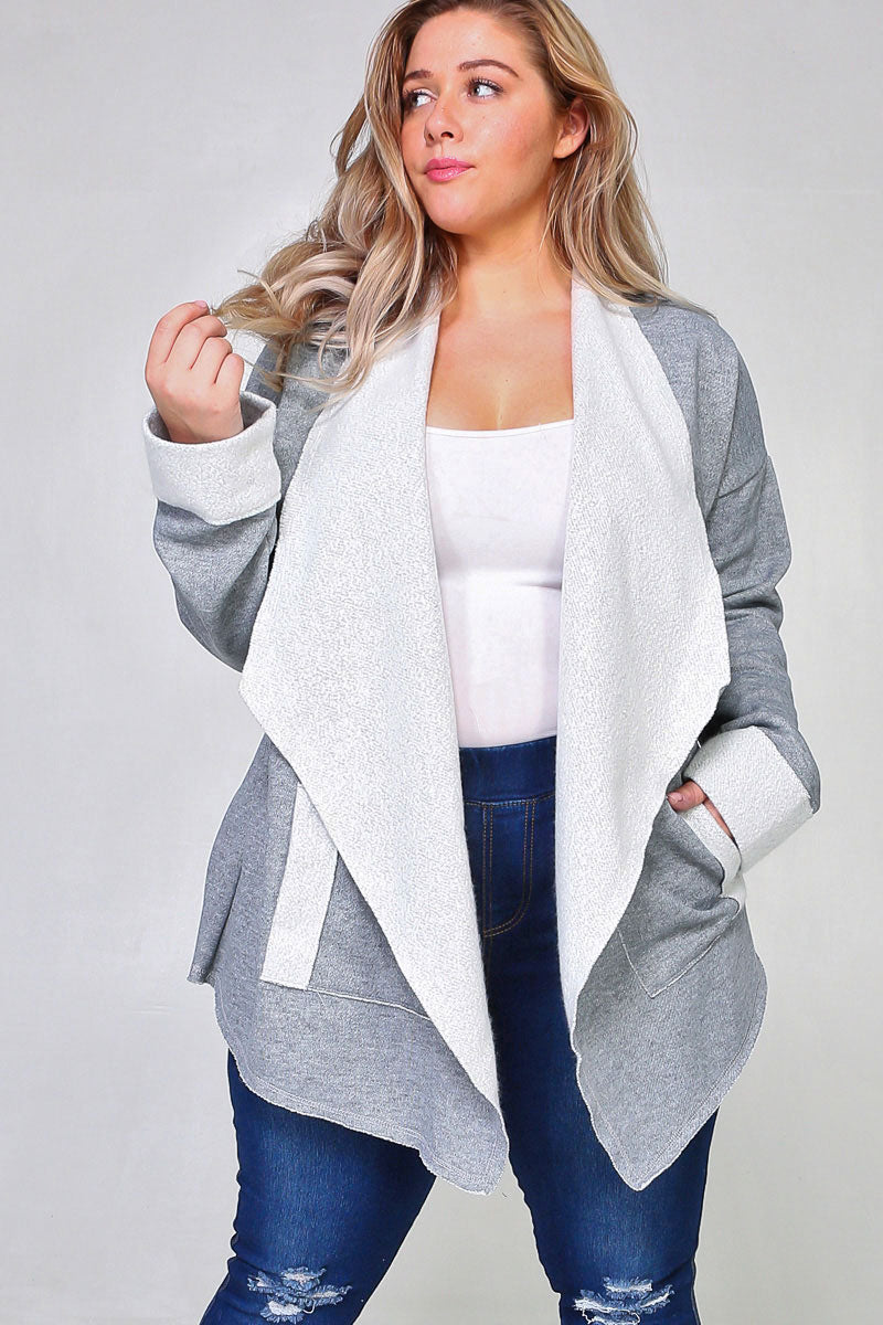 Heather Grey French Terry Open Waterfall Cardigan With 2 Front Pockets Siin Bees
