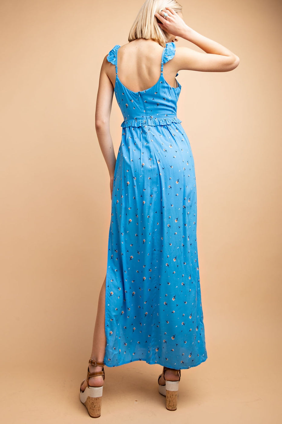 Ditsy Floral Maxi Dress with Side Slits Siin Bees