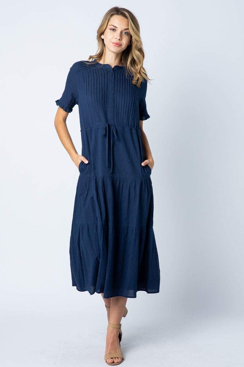 Caroline Midi Dress Pleated With Button Down In Navy Siin Bees