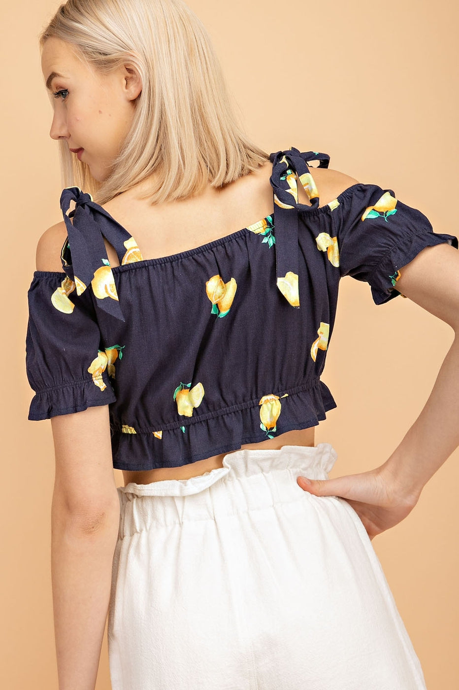 Tie Shoulder Crop Top With Elastic In Navy-Yellow Siin Bees