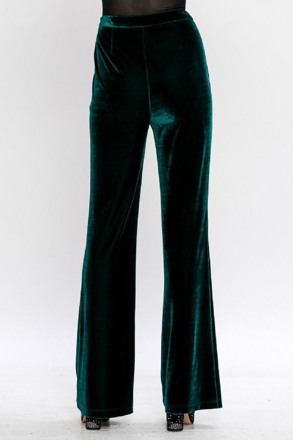 High Waisted Flared Velvet Pants - Siin Bees