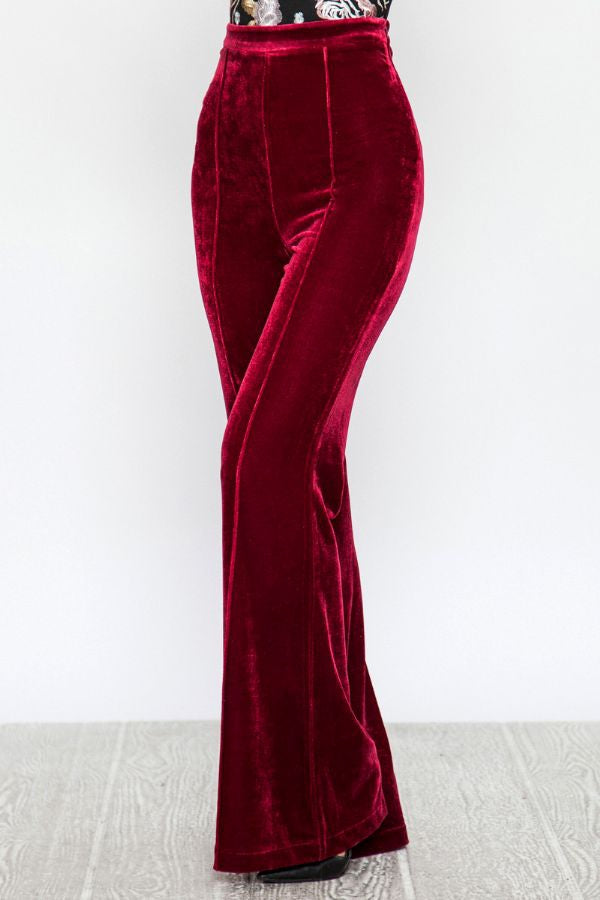 High Waisted Flared Velvet Pants Siin Bees