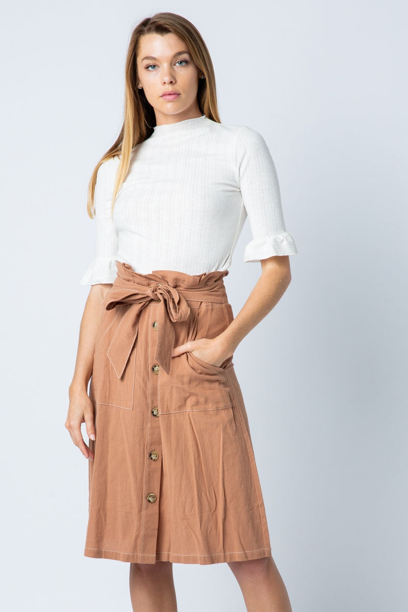 Stylish Brown Paper Bag Skirt With Contrast Seam A-Line Siin Bees