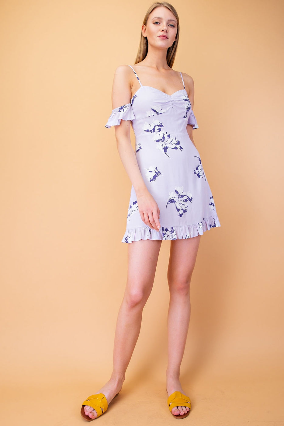 Printed Mini Dress With Cold Shoulder Detail And Ruffle Hem Siin Bees