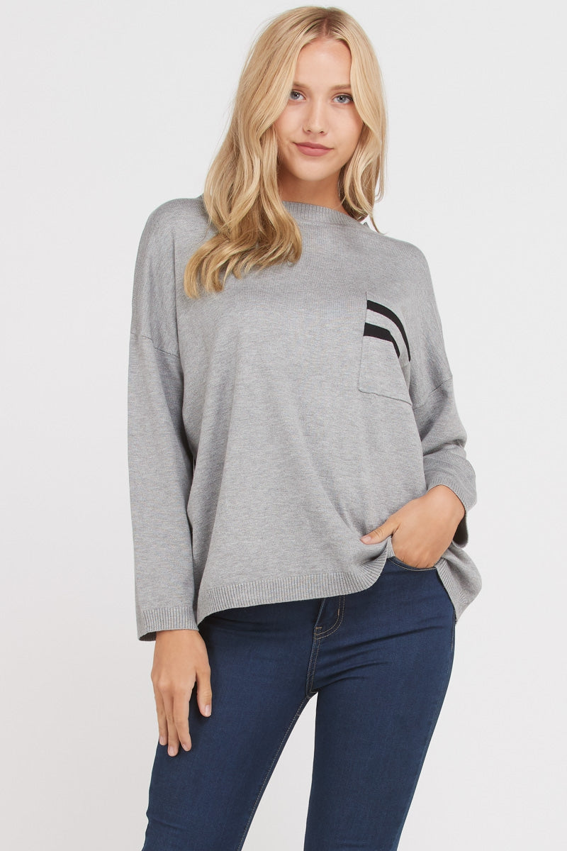 Grey Long Sleeve Sweater Top Siin Bees