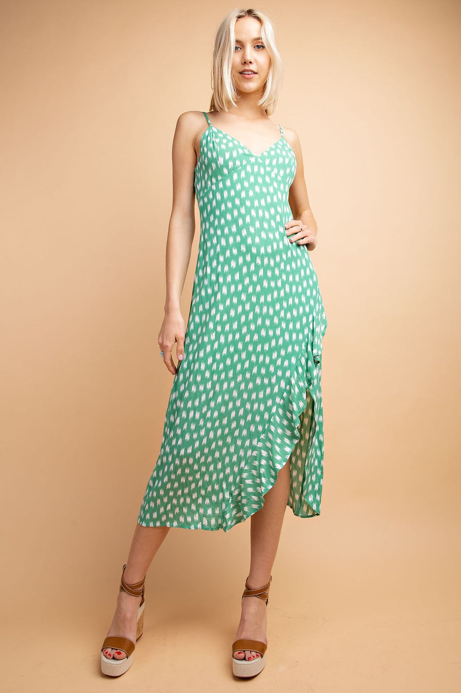 Eva Midi Dress With Ruffle Slit Sleeveless In Green-White Siin Bees