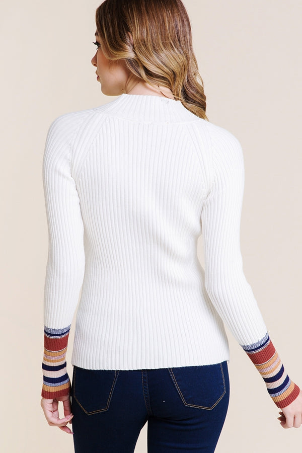 White Sweater With Contrast Striped Sleeves Siin Bees