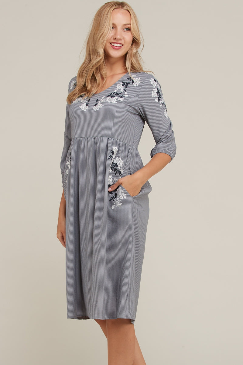 luna Grey 3/4 Midi Dress With Embroidery Detailed Siin Bees