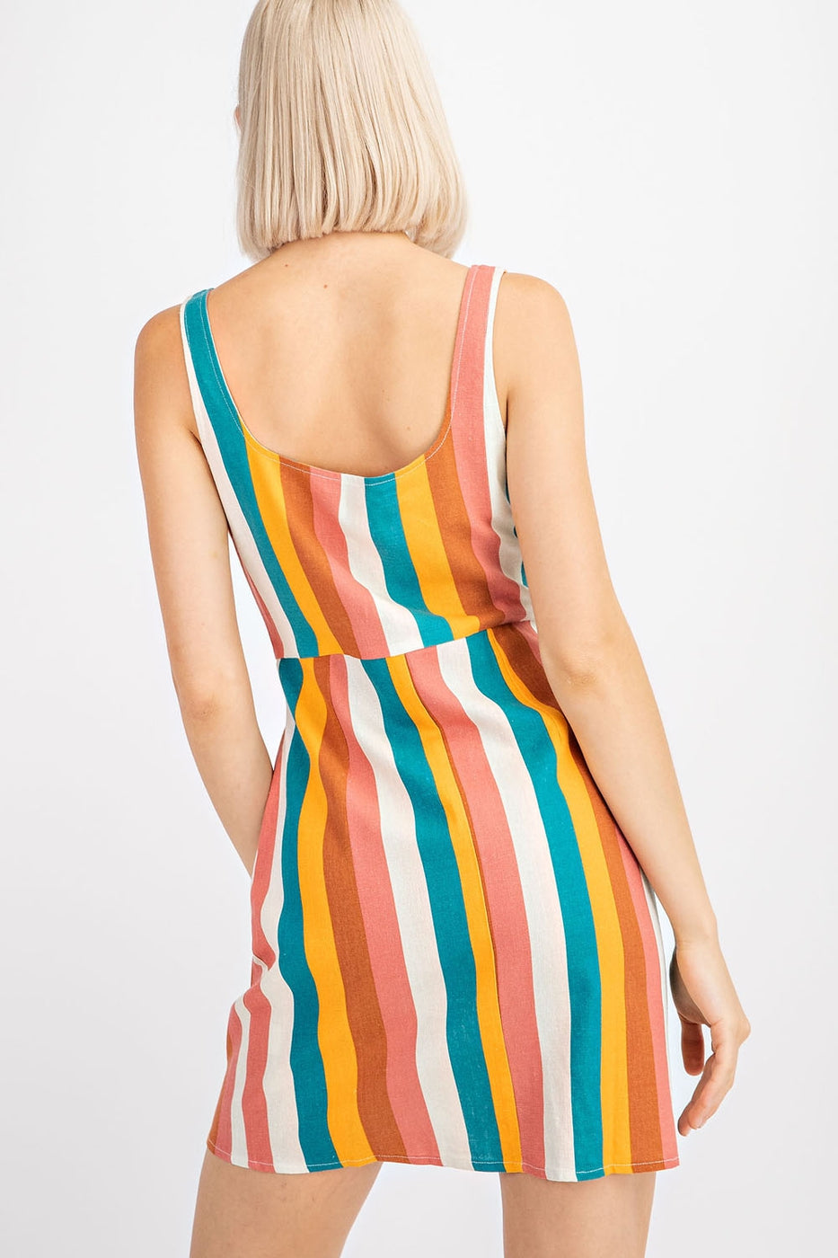 Lily Striped Dress With Button Down Sleeveless Siin Bees