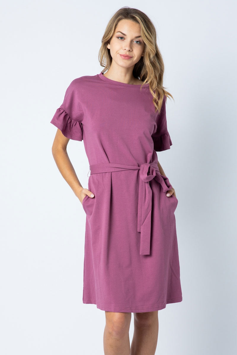 Charlotte Plum Midi Dress With Ruffle Sleeve Detail Siin Bees