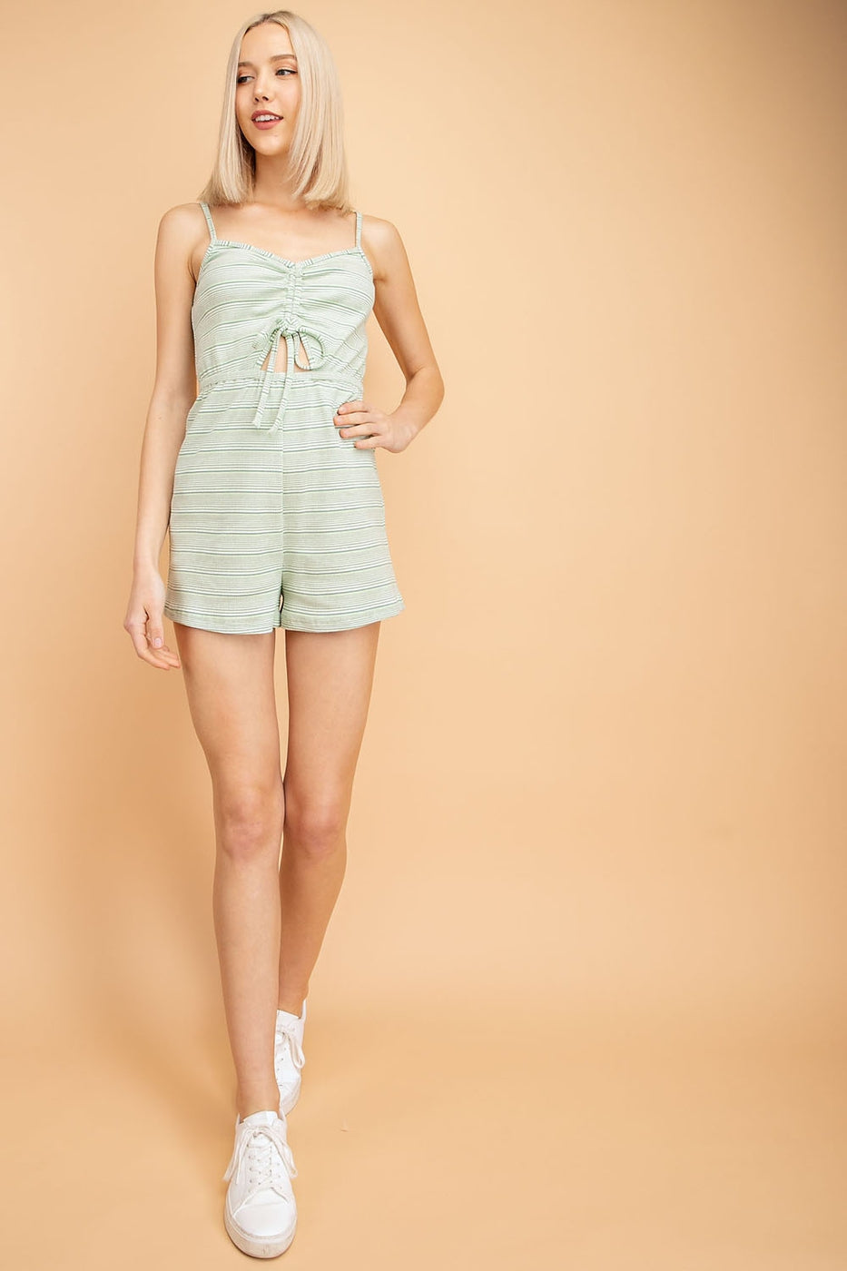 Ribbed Front Ruched Romper Knit - Siin Bees