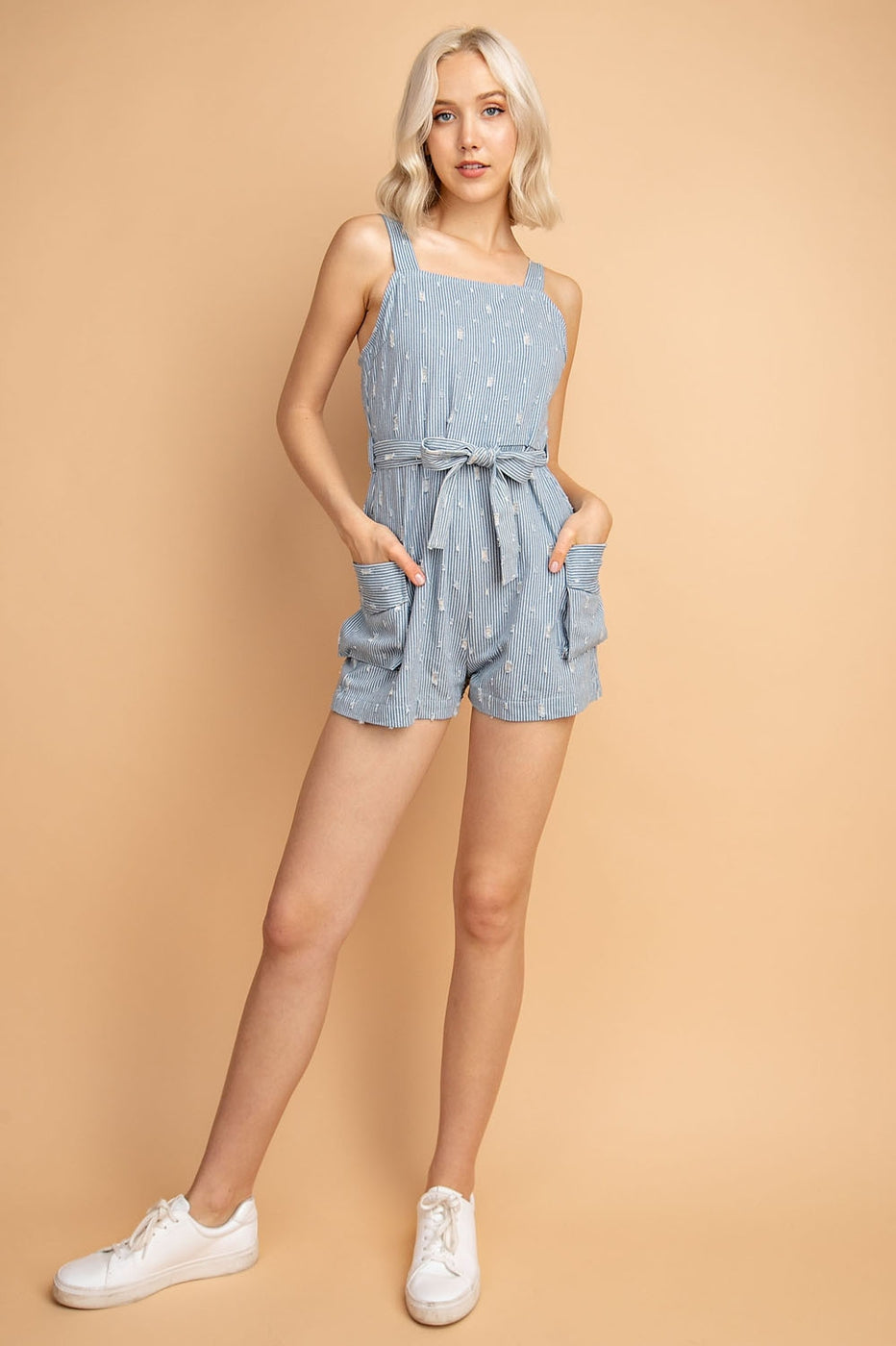 Claire Stripe Romper With Distressed Denim Utility - Siin Bees