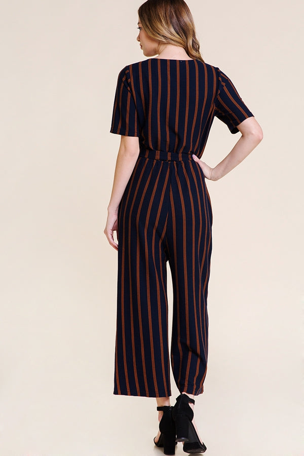 Leila Short Sleeve Jumpsuit Knit Stripe With Waist Tie Siin Bees