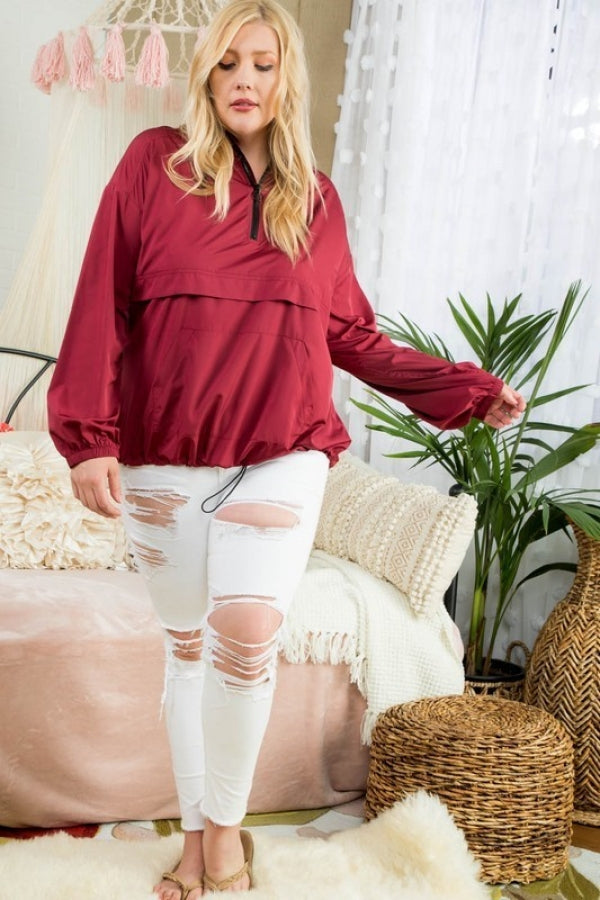 Burgundy Plus Size Solid Pullover Windbreaker Siin Bees