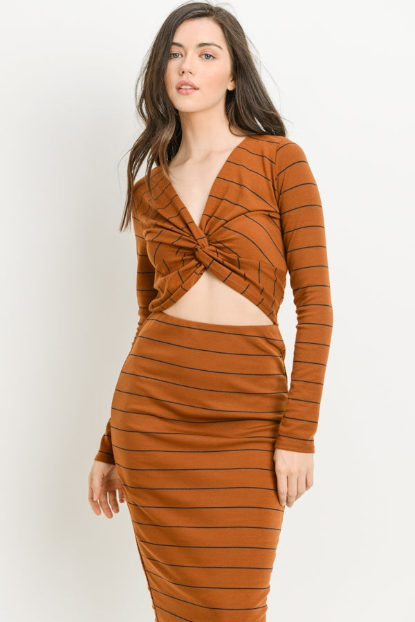 Striped Twist Front Long Sleeve Top In Brown Siin Bees