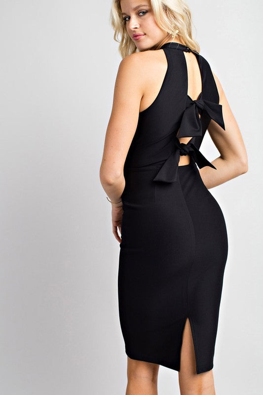 Solid Bodycon Sexy Ribbon Back Tie Detail Siin Bees