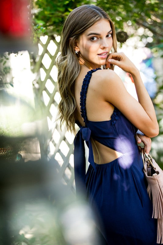 Brielle Jumpsuit With Ruffle Shoulder Back Bow Tie Back Waist Elastic In Navy Siin Bees