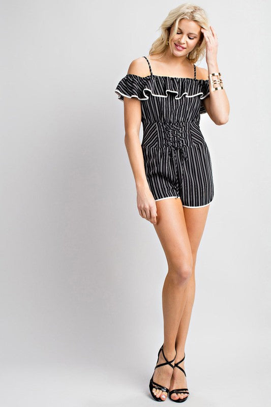 Black/White Vertical Stripe Print Ruffle Shoulder Romper Siin Bees