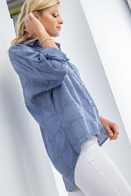 Gingham Plaid Hi Low Button Down Shirt Top Siin Bees