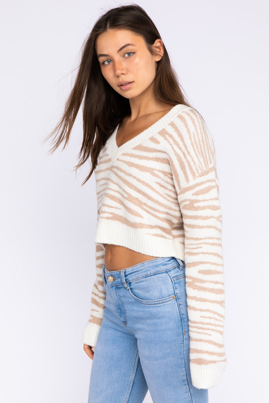 Long Sleeve V-Neck Sweater Siin Bees