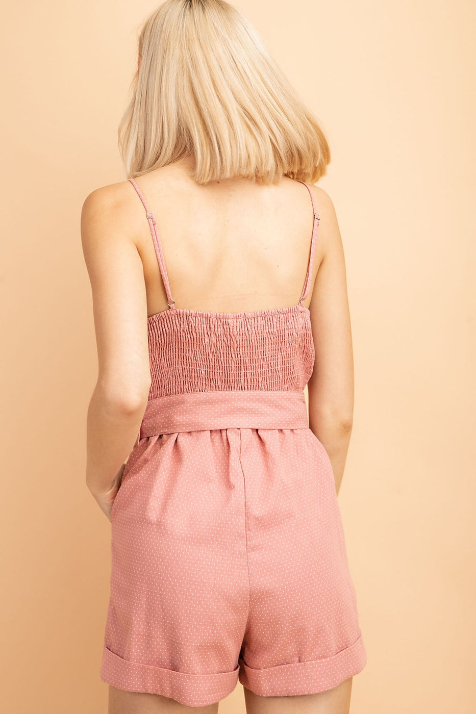 Josephine Romper With Spaghetti Strap Smock Back In Coral Siin Bees
