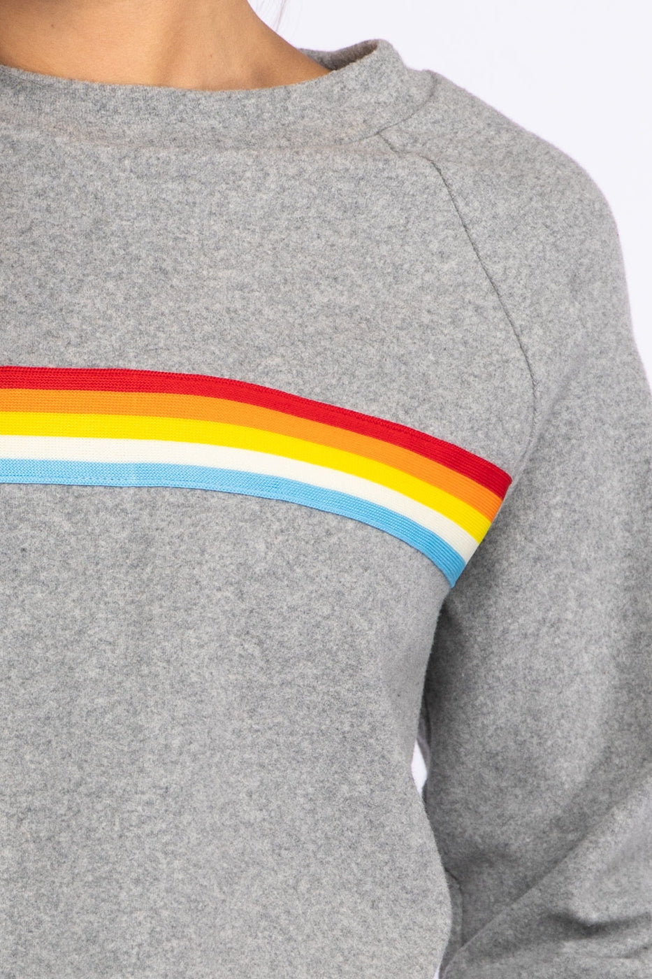 Rainbow Trim Knit Crewneck In Heather Grey Siin Bees