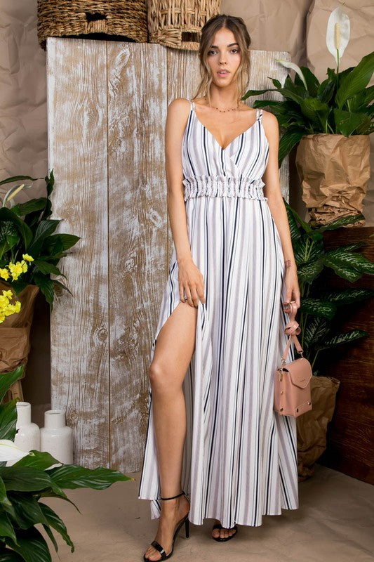 Full Maxi Skirt Has a Sexy Side Slit Adjustable Double Straps Waist Elastic Smoking Maxi Dress Siin Bees